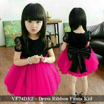 dress pesta anak murah | VF74DRF - Dress Ribbon Fanta kid fit 3-5 tahun