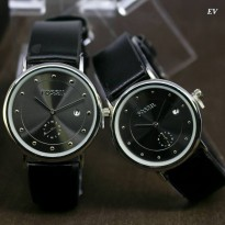 Jam Tangan Couple Fossil Chrono Date Free Baterai & Box black