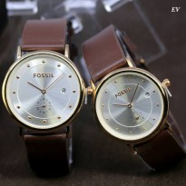Jam Tangan Couple Fossil Chrono Date Free Baterai & Box brown