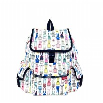 Tas Backpack Import Authentic Lesportsac Voyager Backpack - White