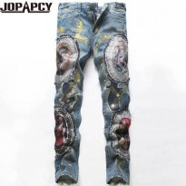 [globalbuy] Cool Personality Badge Patchwork Jeans Hip Hop Rock Men Ripped Jean Fashion Br/4201927