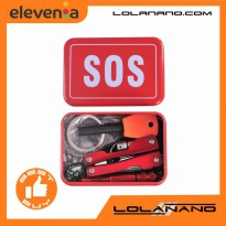 Portable SOS Tool Kit Earthquake Emergency Onboard Outdoor Survival - JT0221 - Red