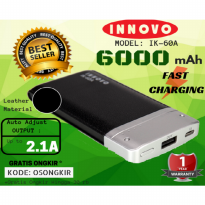 (POP UP) Power Bank 6000 mAH INNOVO ORIGINAL Portable Charger Leather IK-60A