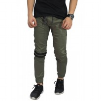 Celana Jogger Chino Double Stripe Olive Green