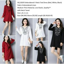 Fashion Woman Import Embroidered V neck Tied Dress ( Black, Red,White) size L ,XL - 20201 | AFWD