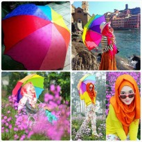 Payung Pelangi 3D Magic umbrella rainbow 3 Dimensi motif bunga Korea