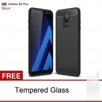 Samsung Galaxy A6 Plus SoftCase Carbon Hybrid Brushed + Tempered Glass