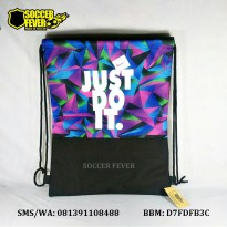 Drawstring Bag / Tas Serut Just Do It Hitam Kombinasi Biru Ungu Hijau