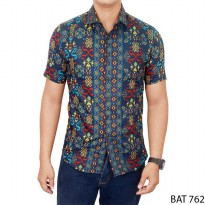 Batik Pendek Slim Fit Katun Navy – BAT 762