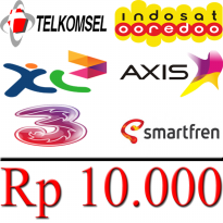 PULSA 10000 (Telkomsel, Indosat, XL, Axis, Three/Tri, Smartfren)