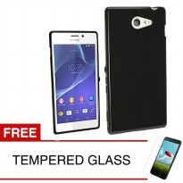 Case for Sony Xperia M2 Aqua - 4.8 inch - Slim Soft Case - Hitam Solid + Gratis Tempered Glass
