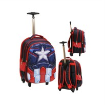 Tas Trolley Gagang Stainles SD Avengers Otot 6D Soft Hard Cover Timbul