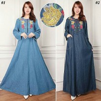 Glow fashion Dress jeans maxi panjang wanita jumbo long dress Liska