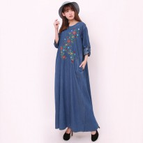 Glow fashion Dress jeans maxi panjang wanita jumbo long dress Denita