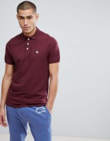 Abercrombie & Fitch Stretch Pique Slim Fit Polo Icon Moose Logo in Red