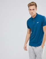 Hollister Stretch Pique Polo Seagull Logo in Blue