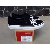 vans slip on metalica black white wafle icc