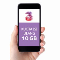 TRI three Paket Data Kuota 10GB (Ikut Masa Aktif Kartu)+(20GB NAS+Unlimited Youtube,30Hr)+2K