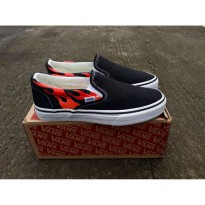 vans slip on flames black wafle dt