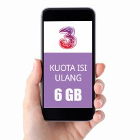 TRI three Paket Data Kuota 6GB (Ikut Masa Aktif Kartu)+(12GB NAS+Unlimited Youtube,30Hr)+2K
