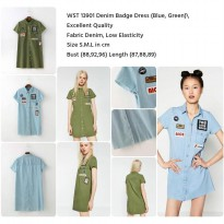 Denim Badge Dress (BLUE,GREEN size S,M,L)-13901