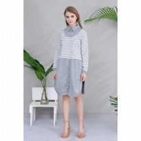 Jfashion Stripe Two Tones Tunik Long Sleeve - Jihan