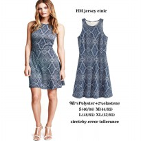 Dress Etnic HM - Motif Rhombus Sleeveless - Navy XL