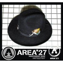 Topi Fedora Hitam Black Woll Hat with Pin Feather Import HAT0227007