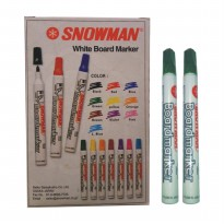 SNOWMAN- 12 Spidol Whiteboard Marker Hijau / Box