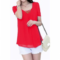 Korean style blus with necklace short sleeve