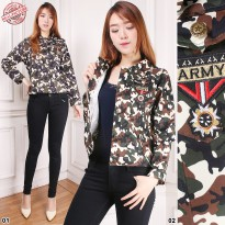 SB Collection Atasan Blouse Riana Jaket Outer Rompi Casual Army Wanita