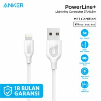 Kabel Charger Anker PowerLine+ Lightning Mfi Certified 3ft/0.9m A8121