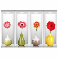 WALLSTICKER/WALL STIKER 60X90-SK9073B-FOUR CARNATION VASE