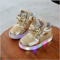 Sepatu Anak Boots Shoes Hello Kitty HK LED Import size 26-30