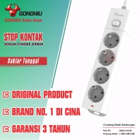 Gongniu Stop Kontak 4 lubang 1 on-off 3 Meter