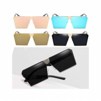HO2511W - Kacamata Fashion Large Square Metal Sunglasses