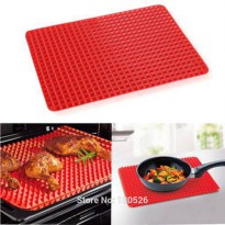 [globalbuy] 1Pc Medium Red Pyramid Pan Nonstick Silicone Baking Mat Mould Cooking Mat Oven/2899587
