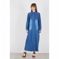 Dline G34 Blue Wash Long Sleeve Long Dress