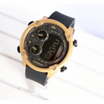 Grosir! JAM TANGAN PRIA QUICKSILVER DIGITAL RUBBER BLACK GOLD
