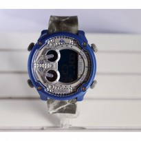 Grosir! JAM TANGAN PRIA QUICKSILVER DIGITAL RUBBER BLACK BLUE (SILVER)