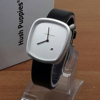 Jam Tangan wanita Hush Puppies Black Silver date Leather
