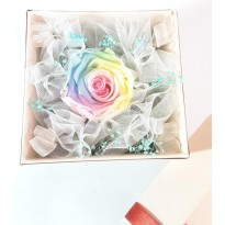 Bloom Box Rainbow Rose Unique Multicolor Preserved Flower