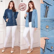 Cj collection Jaket jeans atasan outwear wanita jumbo jacket Armela
