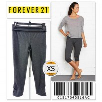 Forever 21 Workout Capris Ruched Pant - 01517040516AC - SIZE XS