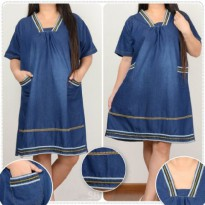 Cj collection Dress jeans pendek wanita jumbo short dress Kiana