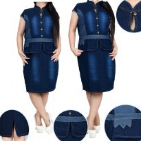 Cj collection Dress jeans pendek wanita jumbo short dress Trina