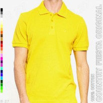 COUNTRY FIESTA Original P2-17 Kaos Polo Shirt Cowo Cotton Kuning