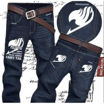 [globalbuy] Anime Jeans Men Fairy Tail Logo Pants Classic Straight Slim Trousers Size28-36/4196660