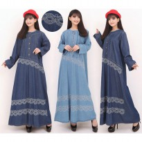 Cj collection Dress jeans maxi panjang wanita jumbo long dress Damara