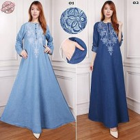 Cj collection Dress jeans maxi panjang wanita jumbo long dress Syakira